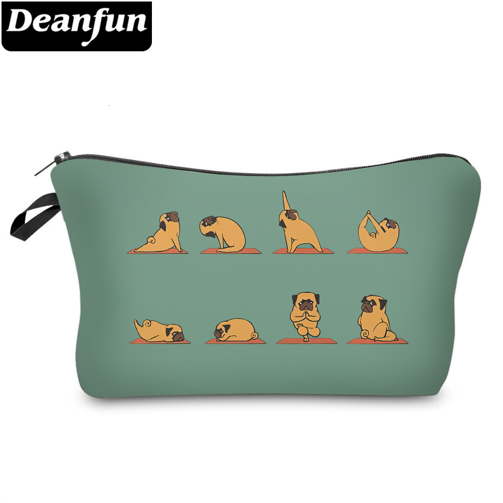 Deanfun Green Small Makeup Bag Women Cosmetic Travel Bag Organizer Bag For Purses Cute Yogo Pug Printing Pouch Bag 51820