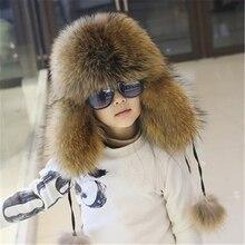 Boys Winter Fox Fur Hats Girls Thick Mink Fur Caps Warm Pelaje Bombers