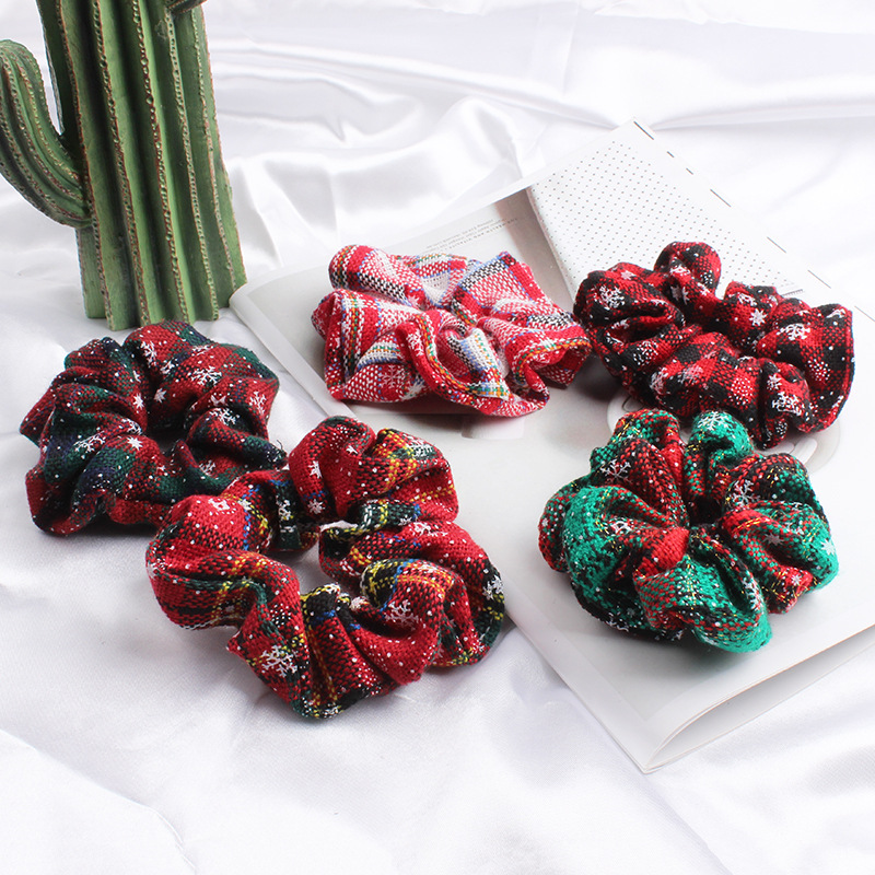 2Pcs/lot Christmas Plaid Hair Scrunchies for Women Rubber Band Ponytail Holder Gum Red Tie Girls Accessories