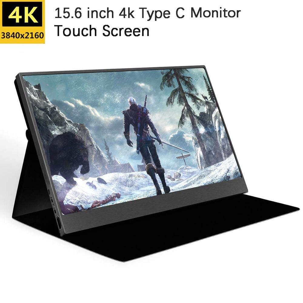 Monitor táctil LCD 4K HDR de 15,6 pulgadas para Raspberry Pi 4 Xbox Pantalla de juegos portátil tipo C NS Switch PS4 Pantalla de juegos 3840x2160