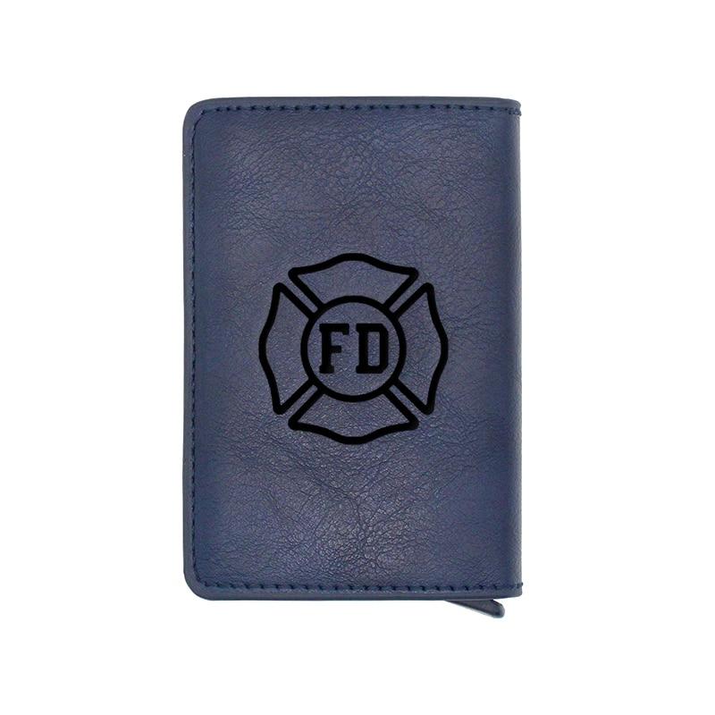 New Arrivals Unique Firemen Design Card Holder Wallets Men Women Rfid Leather Short Purse Slim Mini Wallet Small Money Bag