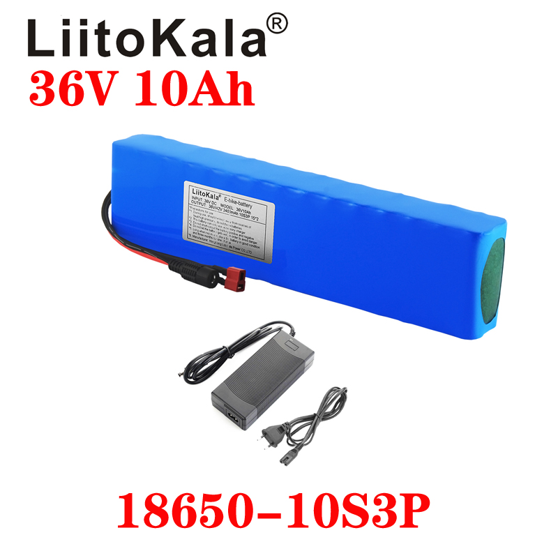 LiitoKala 36V battery 36V electric bike battery 42V 10AH <font><b>18650</b></font> battery for motorcycle Scooter with XT60 plug and 42V2A charger image