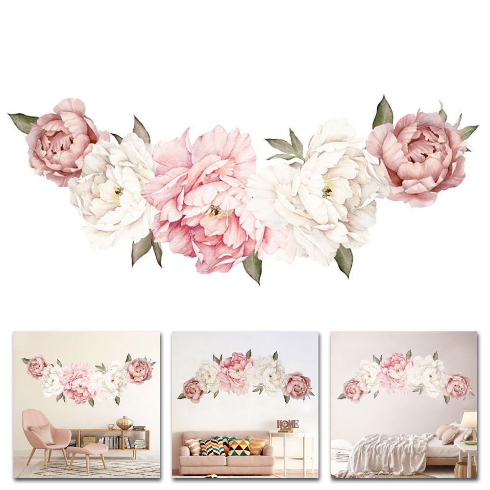 Large Peony Flower Wall Sticker Romantic Bedroom Display Kids Room Decals Nursery Arts 40*60cm DIY Home Decoration
