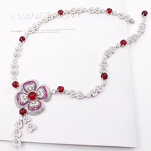 Jewelry Hyperbole Necklace Banquet-Pendant Women Brand Fashion for Red Crystal Fine-Costume