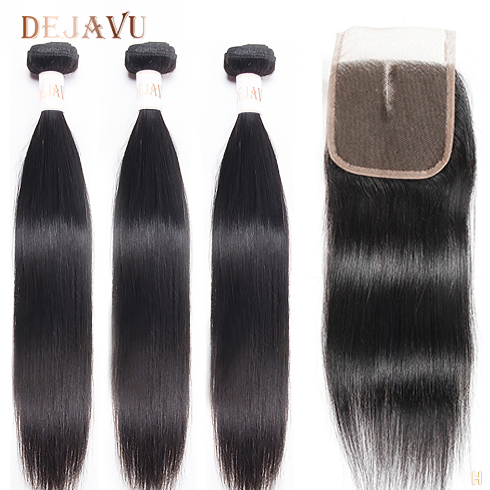 DEJAVU Straight Hair Bundles With Closure Brazilian Non-Remy Human Hair 3 Bundles With 4*4 Lace Frontal Pelo For Black Women