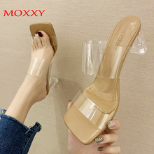 High Heels Woman Slippers Transparent Sandals Shoes 2020 Summer Platform Women Slippers Clear Jelly Slides Shoes