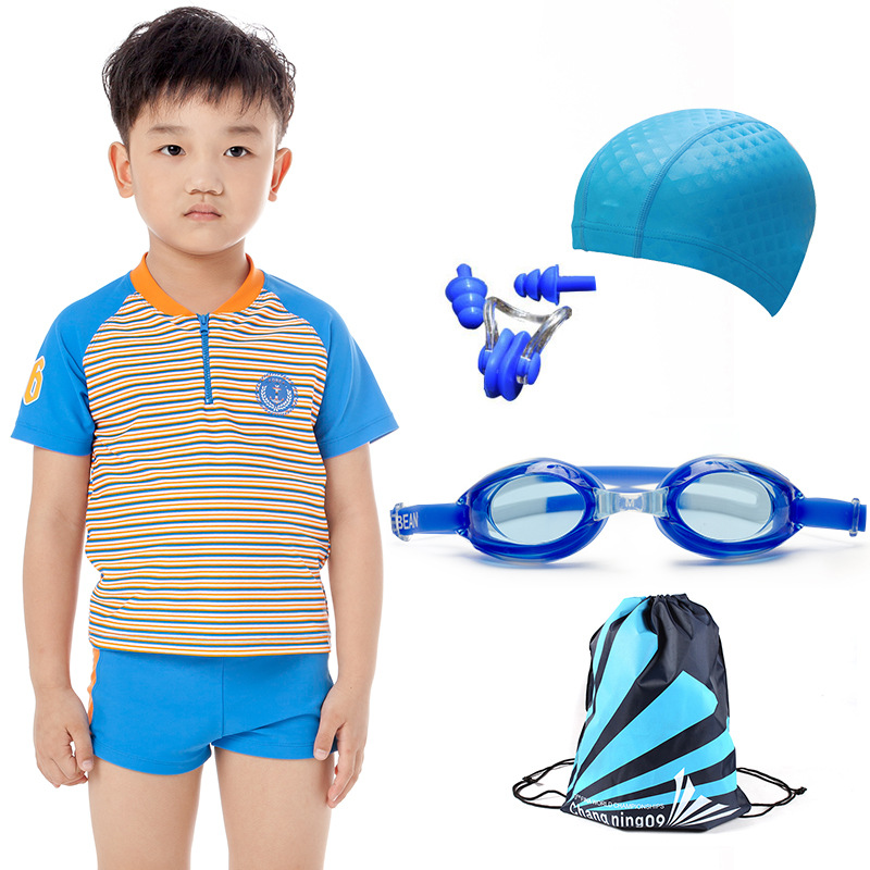 Men And Women KID'S Swimwear Swimming Trunks Kids Split Type Boxer Swimming Suit Big Boy Surfing Suit Short Sleeve Sun-resistant