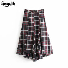 2019 Fashion New Spring Autumn skirt england style vintage plaid high waist pleated Irregular long skirts