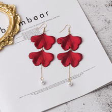 Hello Miss Exaggerated rose petals earrings fashion personality chain pearl tassel womens jewelry