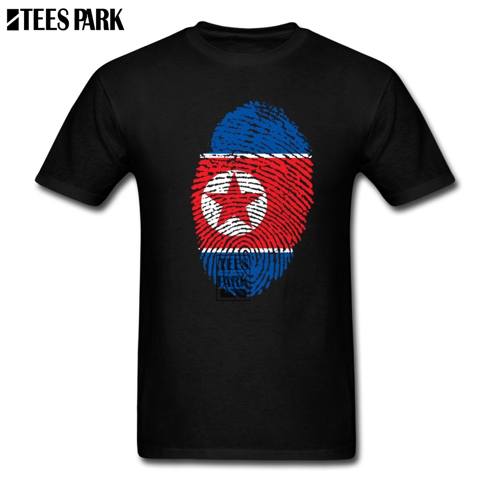Men's Formal Shirts DPRK North Korea Flag Fingerprint Funny T Shirts for Men Adult Cotton Tee Shirt Create Adult T Shirt 3D image