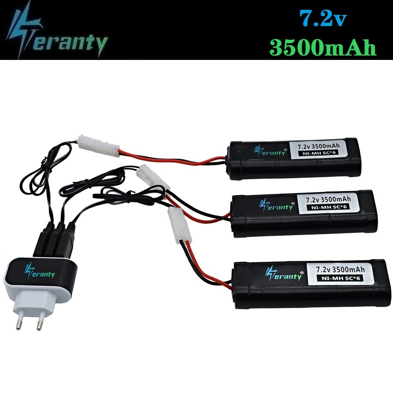 Tamiya Connectors (KEP-2P) 7.2V 3500mAh SC Ni-MH Battery For RC Cars RC Toys Tanks Boats 7.2v Rechargeable Battery And Charger