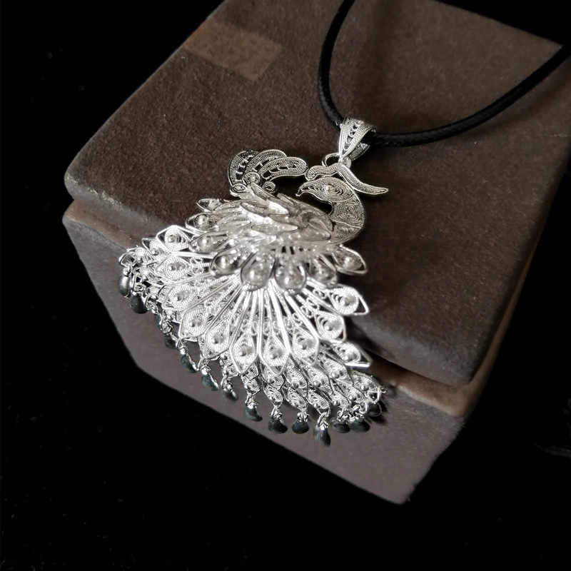 Peacock Pendant Necklace Women Handmade Jewelry Ethnic 999 Sterling Silver Pendants White BOHO Necklace Women Luxury Big Pendant