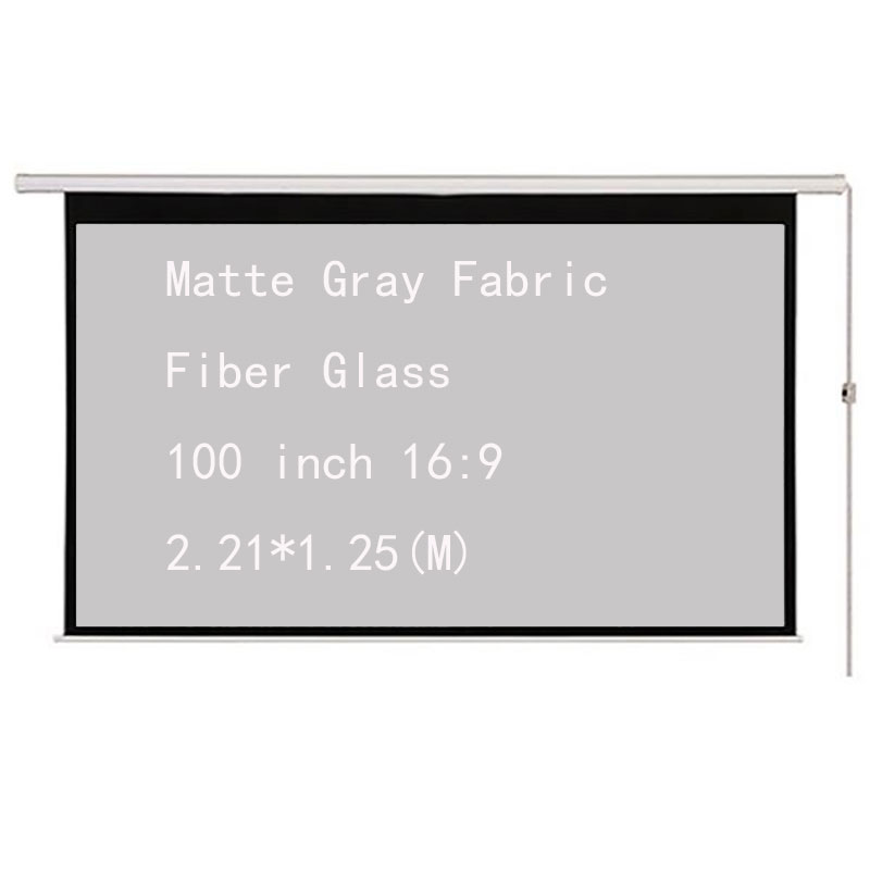 Thinyou 100inch 16:9 Electric Motorized Projector Screen Matte Gray Fabric Fiber Glass With Remote For Home Theater Movie Office