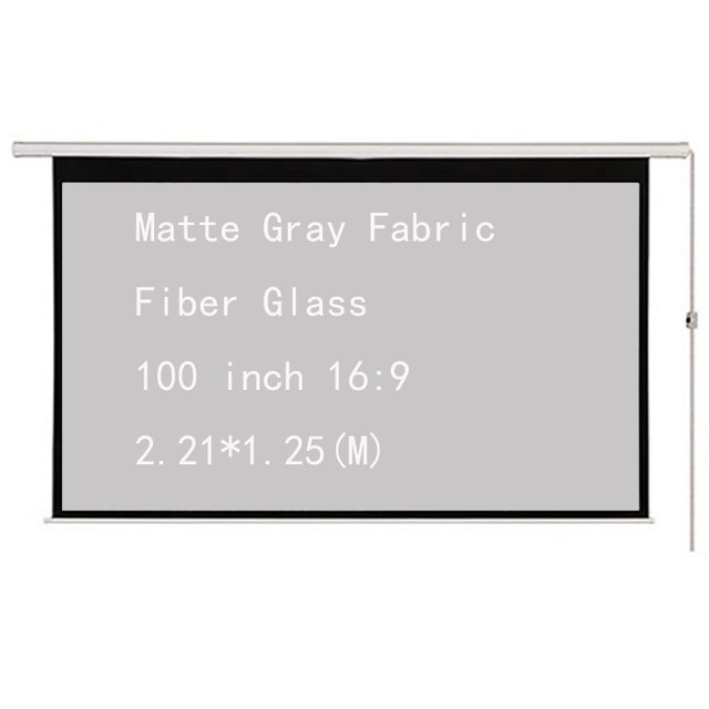 100inch 16:9 Electric Motorized Projector Screen Matte Gray Fabric Fiber Glass with Remote for Home Theater Movie Office