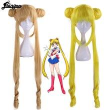 Ebingoo Sailor Mond Doppel Pferdeschwanz Lange Gerade Blonde Zitrone Gelb Synthetische Cosplay Perücke für Halloween Kostüm Party