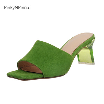 hot sale summer candy color women sheepskin suede peep toe transparent high heels mules pumps genuine leather slip on shoes