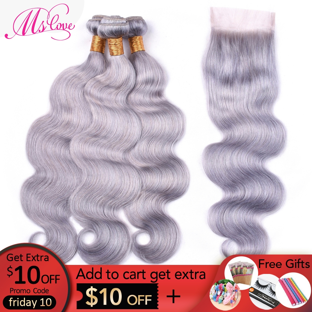 Ms Love Grey Hair Bundles With Lace Closure Gray Body Wave Brazilian Hair With Closure Remy Human Hair Bundles With Lace Closure