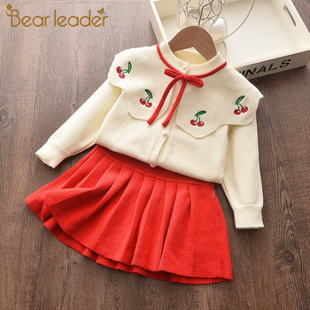 Bear Leader Baby Autumn Winter Girls Dress Kids Cotton 2 Pcs Cloths Children Outfits New Print Sweater Dress for Girls Knitted children outfits one piece sweater suit for girls knitted cardigan autumn winter girls clothing set kids cotton 2 pcs clothes