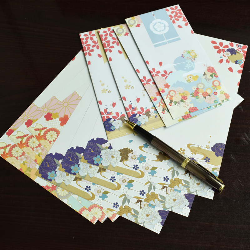 Japanese Style And Wind Floral Antique Style Envelope Writing Paper Set Creative Fresh And Romantic Confession Love Letter 10 En