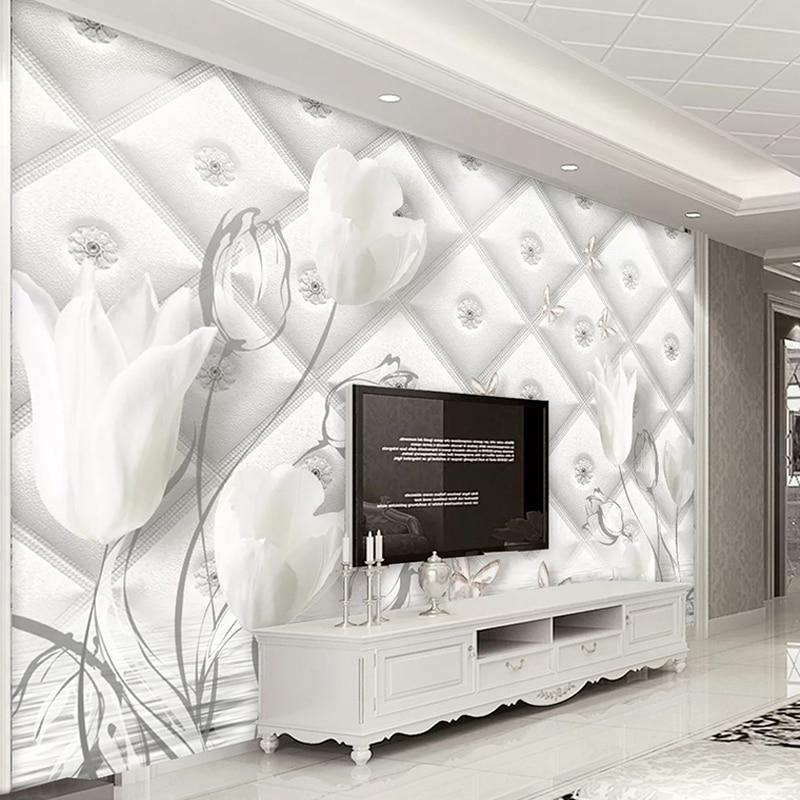 Custom Wallpaper Modern 3D Stereo Soft Roll White Calla Lily Line Geometric Mural Living Room TV Home Decor Luxury Backdrop Wall