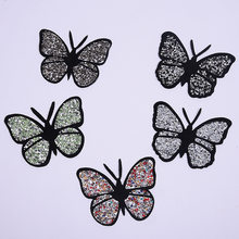 Patch papillon coloré à coudre sur les strass brodés, patch correctif à Motif appliqué pour vêtements, autocollant d'insecte pour robe, 3 pièces/lot