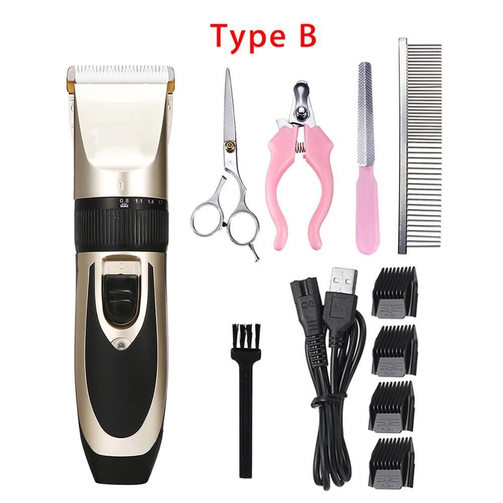 Электрический триммер для волос для домашних животных перезаряжаемый машинка для стрижки волос для домашних животных, собак, кошек с низким уровнем шума машинка для стрижки волос набор бритв+ Запасное лезвие - Цвет: Type B