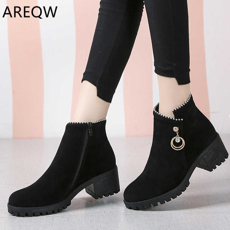Autumn Winter Warm Women Ankle Boots Square High Heels Leather Boots Pointed Martin Boots Casual Pumps