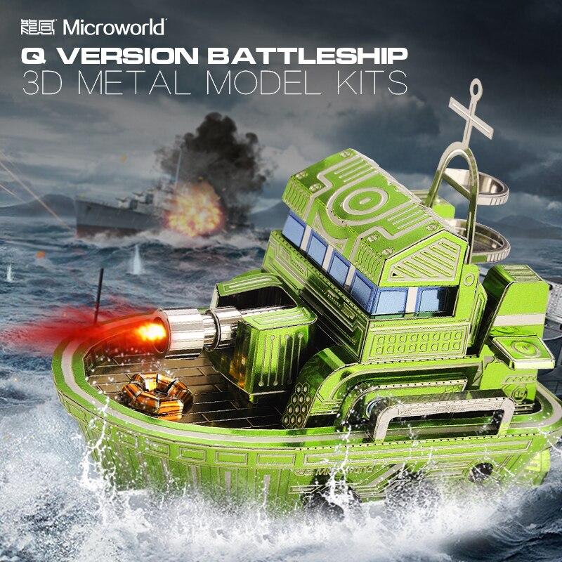 Assemble-Toys Puzzle Battleship 3d Metal Laser-Cut for Audit Z028 Q-Version DIY Microworld