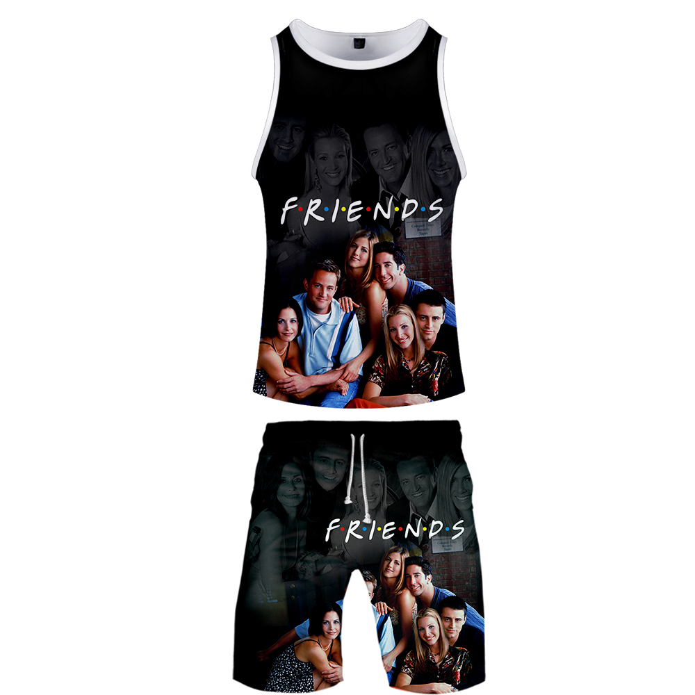 Leisure Friends Two Piece Set Men 3D Print 2 Piece Vest Set Jerseys Funny Horror Friends Tv Show Harajuku Summer Best Clothing