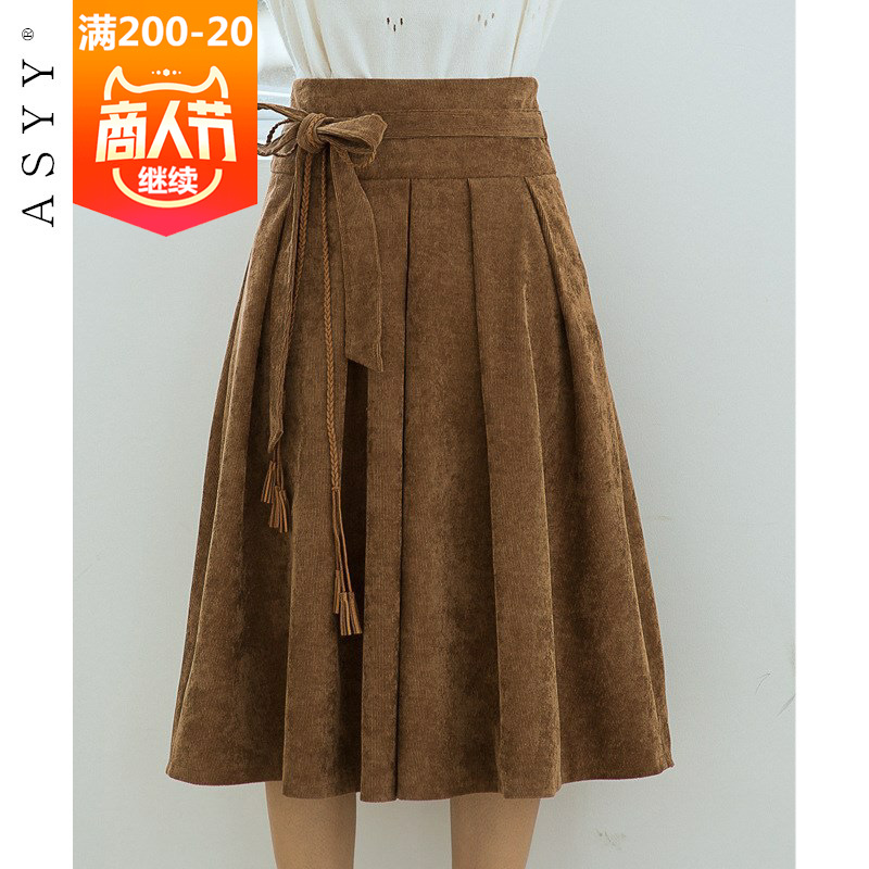 8290 #2018 Autumn New Style Korean-style Corduroy Skirt Women's Mid-length Lace-up Versatile Students Midi-skirt
