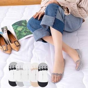 Кружевные носки, прозрачные, силиконовые, невидимые, короткие, летние, Роскошные, женские, хлопковые, modis, повседневные, модные, классные, 4 па...