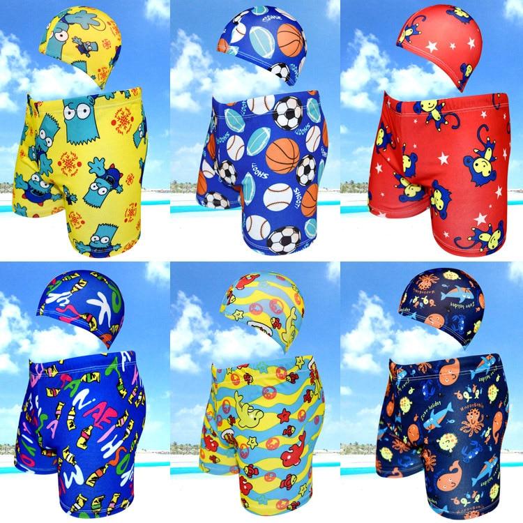CHILDREN'S Swimming Trunks Swimming Cap Set Baby Boys'swimmingtrunks Boy Boxer Cute Cartoon Swimsuit 812