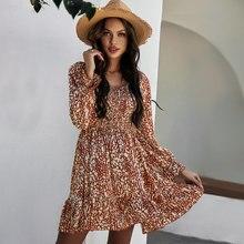 Robe d'été femmes élégant à manches longues Mini robe femme décontracté Boho vacances robe de plage imprimé fleuri volants col carré robe