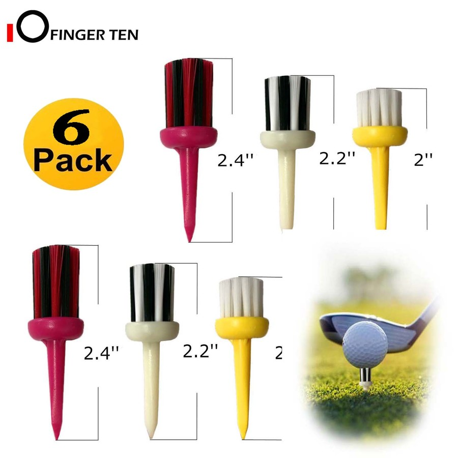 6 Pcs Brush Golf Tees Durable Plastic Mixed Height 2.0 2.2 2.4 Inch Low Friction For Golfer Practice