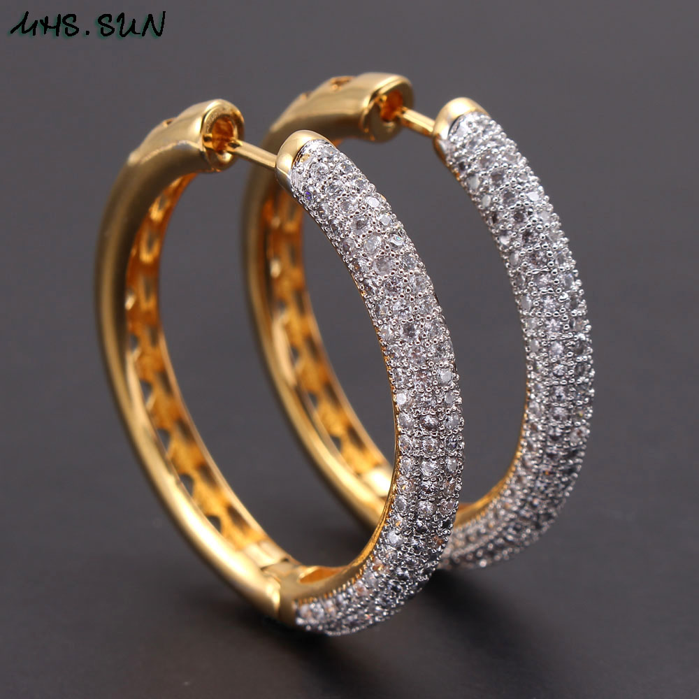 Image 2 - MHS.SUN 2019 New European Style Jewelry Gold Color Hoop Earrings With AAA Zircon For Women Wedding Party Circel Earrings GiftHoop Earrings   -