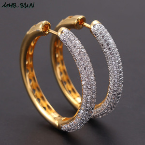 Image 2 - MHS.SUN 2019 New European Style Jewelry Gold Color Hoop Earrings With AAA Zircon For Women Wedding Party Circel Earrings Gift