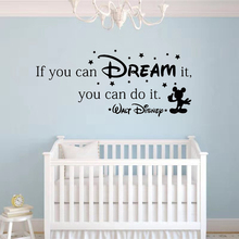 If You Can Dream It You Can Do It Inspiring Quote Wall Stickers Home Art Vinyl Wall Decal For Kids Rooms Mural Mickey Stars if you can dream it