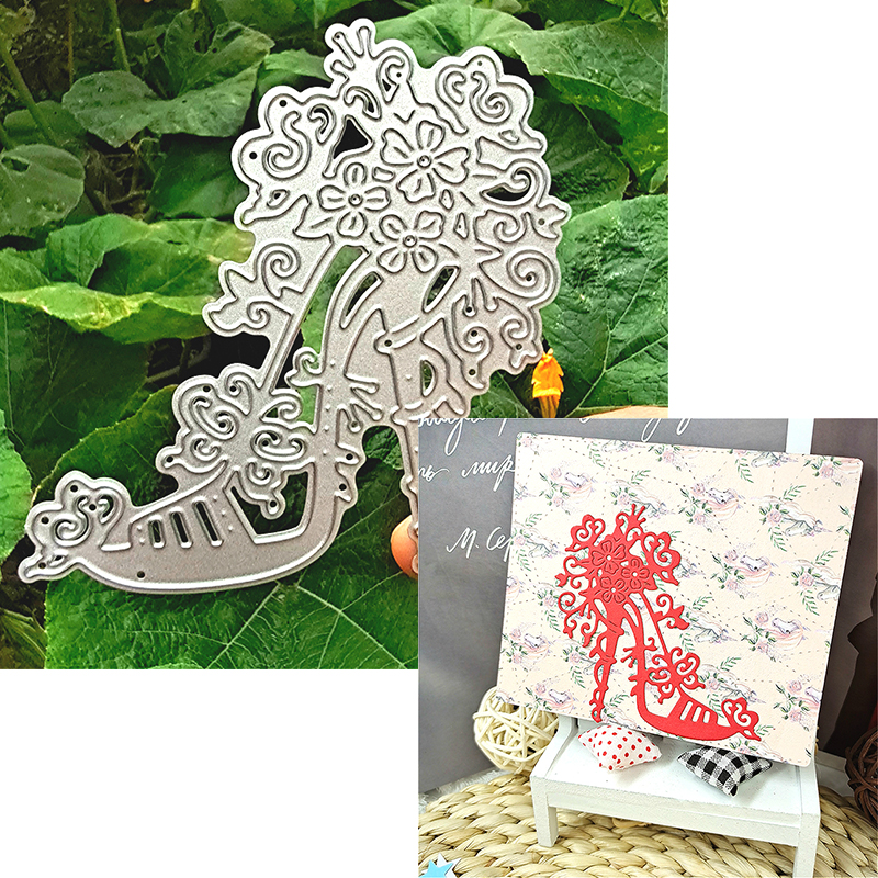 Suitable for Christmas metal cutting die and scrapbook album DIY greeting card making 3D high-heeled shoes 2020 NEW