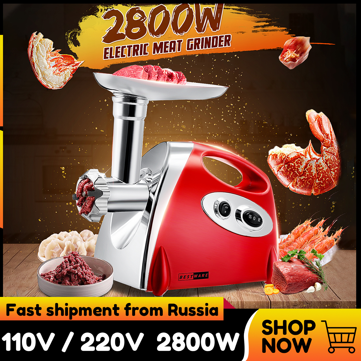 220V 2800W Kitchen Electric Meat Grinder Mincer Sausage Stuffer Maker Filler Machine Food Processor Meat Slicer For Pie Patty