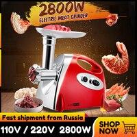 220V 2800W Kitchen Electric Meat Grinder Mincer Sausage Stuffer Maker Filler Machine Food Processor Meat Slicer for Pie Patty|Meat Grinders| |  -