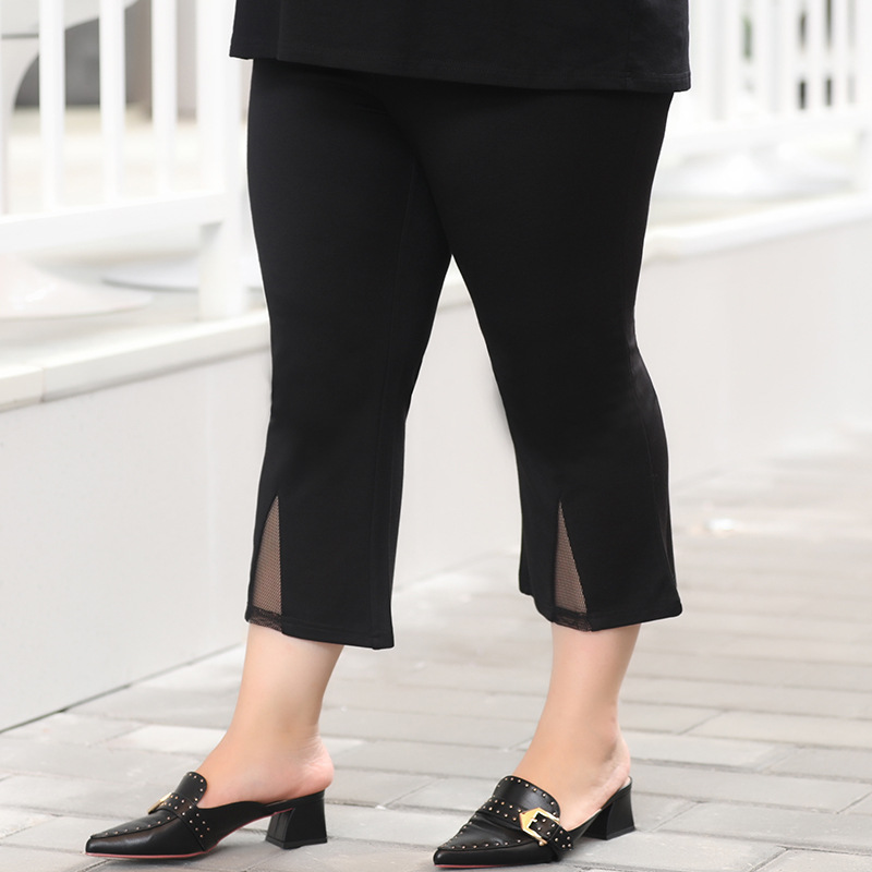 2019 Summer New Style Women's Plus-sized Large Size   Capri     Pants   Fat MM200 Jin Bell-bottom   Pants   Casual High-waisted   Pants