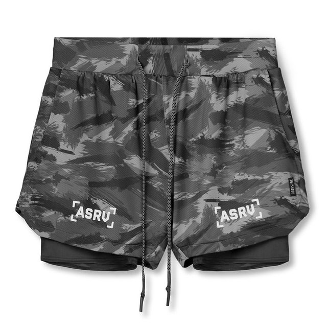 2020 New Double deck Running Shorts Men Fitness Workout Bermuda Bodybuilding Quick dry Short Pants Male clothing Bottoms