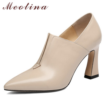 Meotina High Heels Women Shoes Natural Genuine Leather Block High Heels Shoes Real Leather Pointed Toe Pumps Female Size 34-39