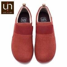 UIN Kakadu jesień/buty zimowe na co dzień dla kobiet/mężczyzn zamszowe mokasyny z mikrofibry szerokie stopy wygodne buty lekkie czerwone trampki