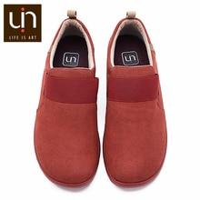 UIN קקדו סתיו/חורף נעליים יומיומיות לנשים/גברים מיקרופייבר זמש ופרס רחב רגליים נוחות נעליים קל משקל אדום סניקרס