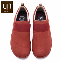 Uin kakadu outono/inverno sapatos casuais para mulher/homem microfibra camurça mocassins pés largos conforto sapatos leves tênis vermelhos