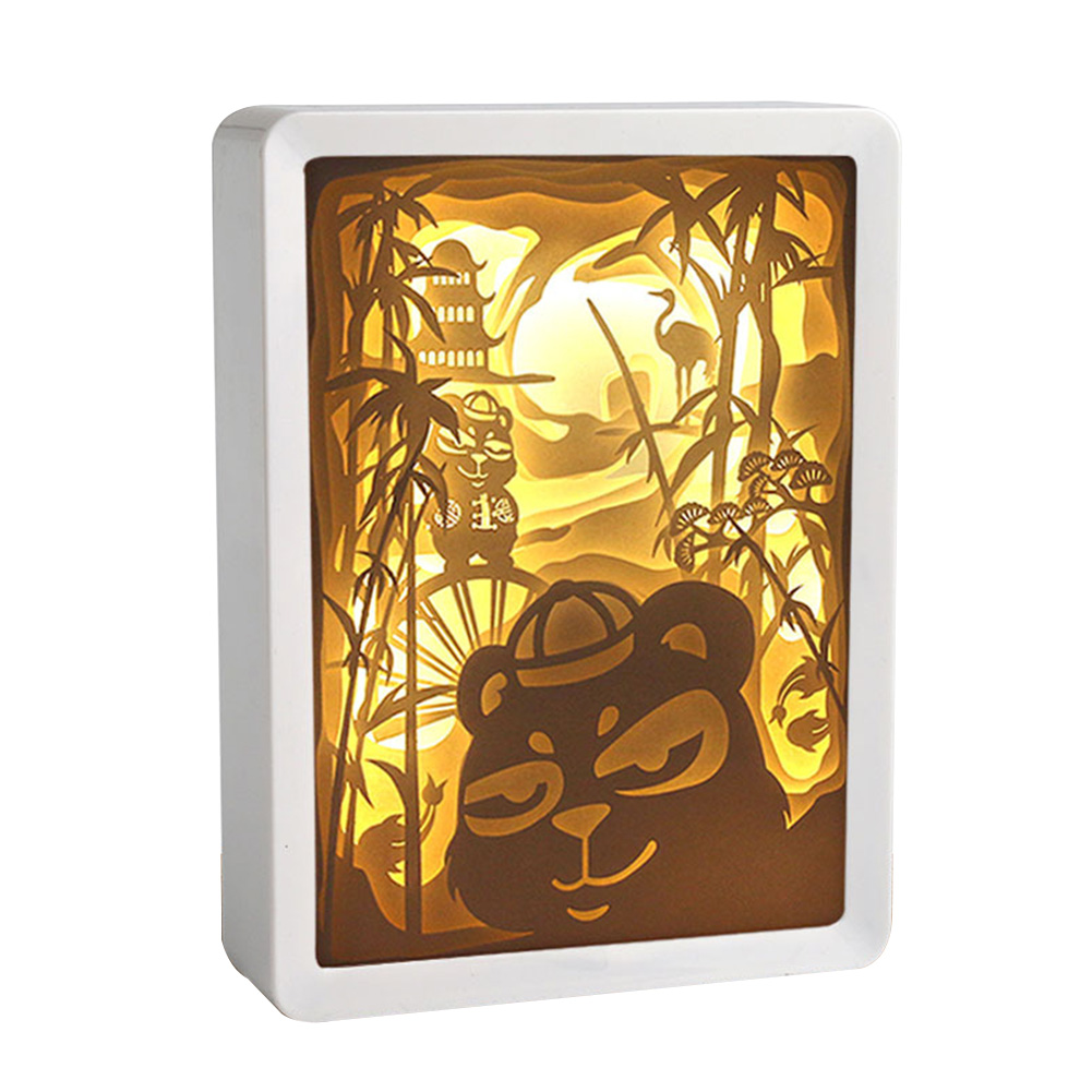 Sculpture Led Night Light 3D Birthday Gift ABS Frame Holiday Party Atmosphere Lamp Shadow Painting Paper Carving Christmas Craft
