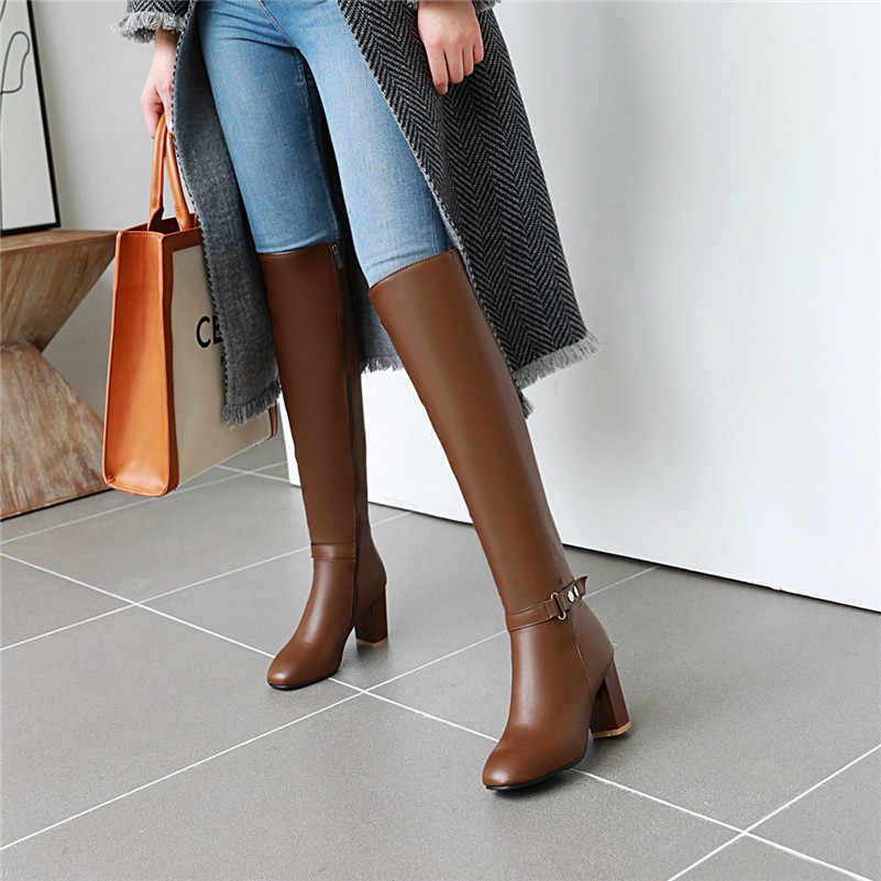 Meotina kış diz çizmeler üzerinde kadın toka kalın yüksek topuk uzun çizmeler fermuar kare ayak ayakkabı kadın sonbahar artı boyutu 33-43