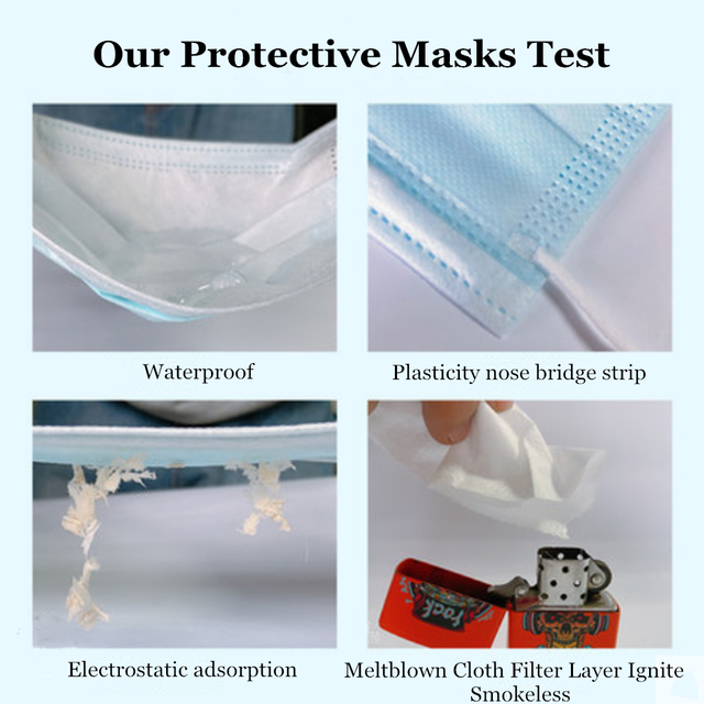 50 Pcs DustProof Anti-Flu Medical Face Mask Surgical Protective Mask Disposable 3 Ply Ear-loop Safety Dentist Mouth Mask 5