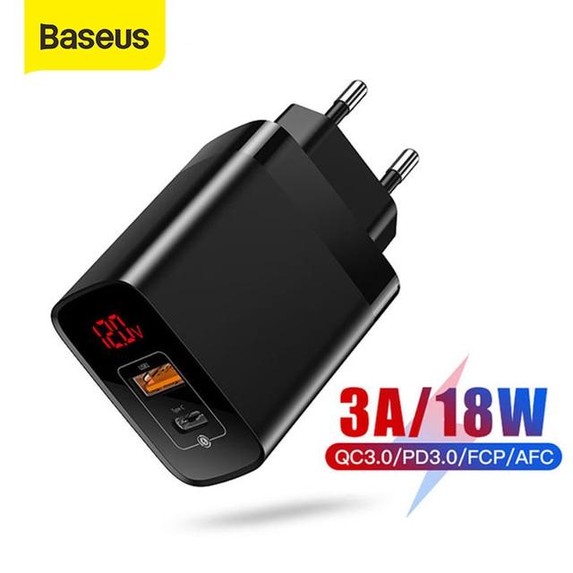 Baseus 18W סוג C USB מטען עבור iPhone 11 פרו מקסימום טעינה מהירה 3.0 PD3.0 מהיר טלפון מטען עם FCP AFC עבור Huawei סמסונג